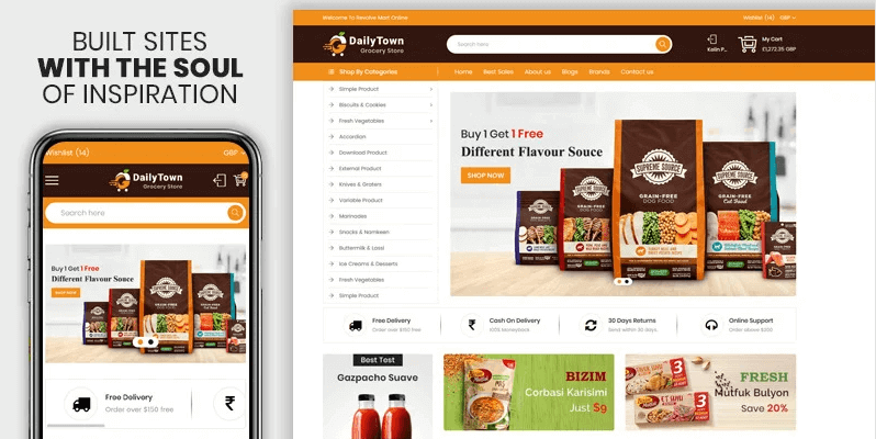 Dailytown The Grocery & Food Responsive Premium Shopify Templates Theme- Online Store for Selling Grocery with Shopify