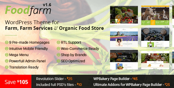 FoodFarm WordPress Theme for Farm, Farm Services and Organic Food Store Theme- Selling Grocery Online with WooCommerce