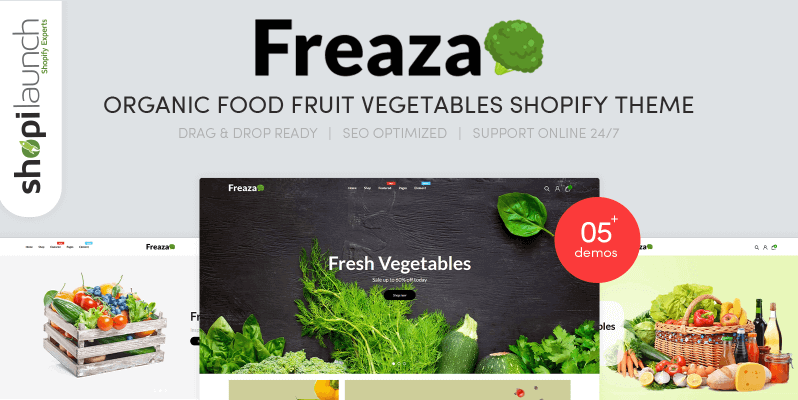 Freaza - Organic Food Fruit Vegetables Shopify Theme- Online Store for Selling Grocery with Shopify