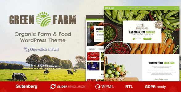 Green Farm Organic Food WordPress Theme- Selling Grocery Online with WooCommerce