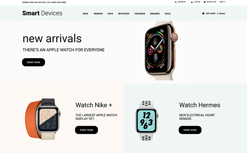 Smart Devices - Smartwatches And Trackers Shopify Theme- Online Store for Selling of watches with Shopify