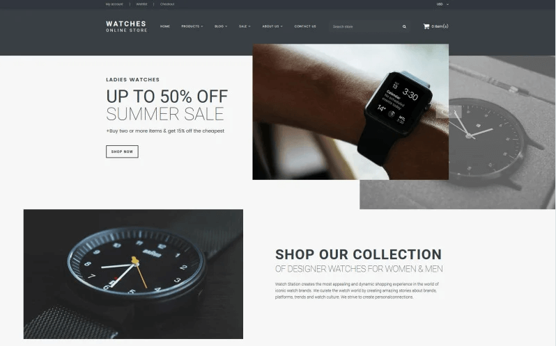 Watches Online Store Shopify Theme- Online Store for Selling of watches with Shopify