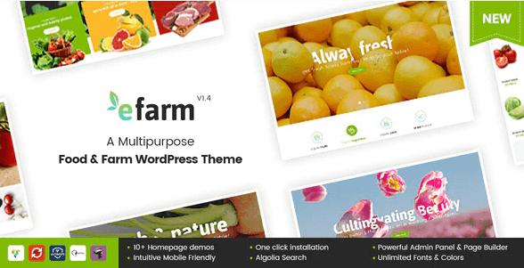 eFarm A Multipurpose Food & Farm WordPress Theme- Online Store For Selling Fruits And Vegetables with Woocommerce